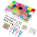 ONECK Caja Pulseras Gomas Bandas de Silicona Para Hacer Pulseras De Colores Bandas Kit para Pulseras(6800 Bandas)
