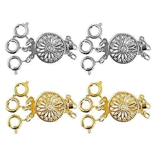 Cierre de collar con 4 broches, 2 unidades de plata y 2 unidades de oro de 14 quilates en capas - joyería y pulsera