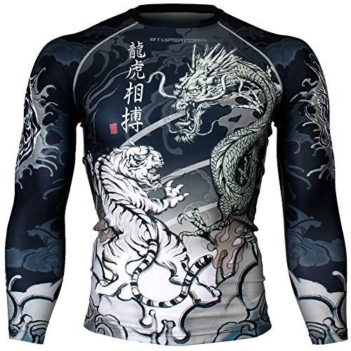 Btoperform Compression Rash Guard Full Graphic Base Layer Shirts Dragon vs Tiger [FX-136] (S)