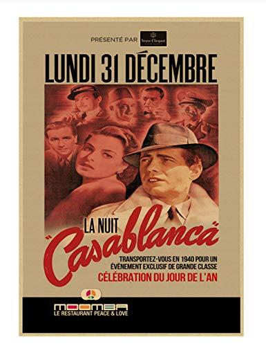 PCWDEDIAN Casablanca Filmplakat Old Hollywood Classic Love Bar Theater Cafe Dekorative Malerei Retro Poster Re210 42X30Cm