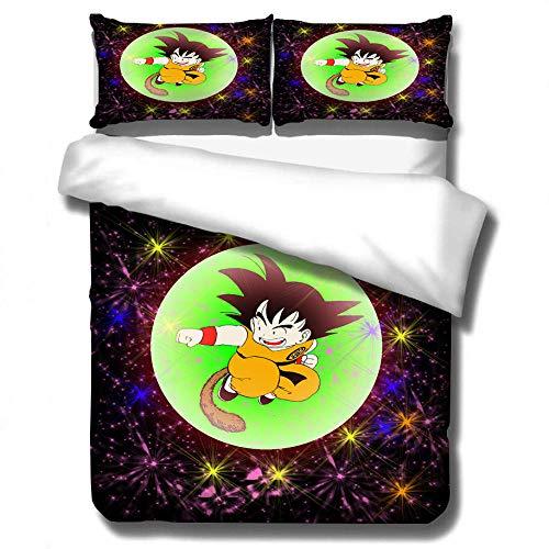 ZYNYHGS 3D Dragon Ball Juego de Cama con Funda nórdica de animación Infantil, Funda de edredón Suave, cómoda y Duradera, Ropa de Cama para niños y niñas, Textiles para el hogar-D_230x260cm (3pcs)