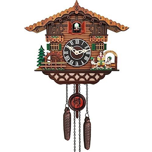 yxx Madera Cuco Reloj Colgando pájaro Reloj Handcrafted Tradicional Negro Bosque casa Madera Cuco Reloj Dormitorio Sala de Estar decoración de Pared Vintage Retro Reloj (Size : Rc-02)