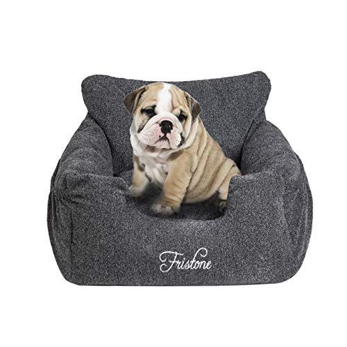 FRISTONE Hunde Autositz, Waschbar Auto Hundebett, rutschfeste Katze Reisen Front Booster Sitze mit Abnehmbare HundeKissen, Rosa(Pink), Blau, Kaffeebraun (Dunkelgrau)