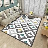 alfombras a Medida Online Decoracion Comedor Alfombra de salón Gris y Blanca Suave y cómoda para Caminar. Decoracion de Salones 160X230CM 5ft 3' X7ft 6.6'