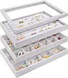 Mebbay Stackable Velvet Jewelry Trays Organizer Set with Clear Lid Jewelry Storage Display...