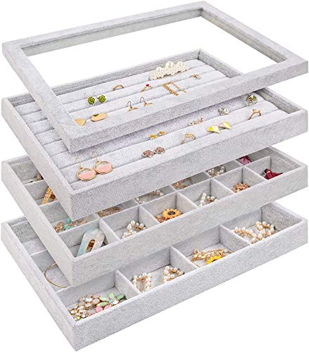 Mebbay Stackable Velvet Jewelry Trays Organizer Set with Clear Lid Jewelry Storage Display Trays for Drawer Earring Necklace Bracelet Ring Organizer Set of 4
