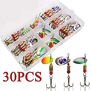 NORTH BAY 30pcs/Box Inline Spinner Baits Fishing Lure Kit, Metal Inline Spinner Baits for Bass, Fishing Lure Assortment Spinner with Multiple Patterns Colorado Blade