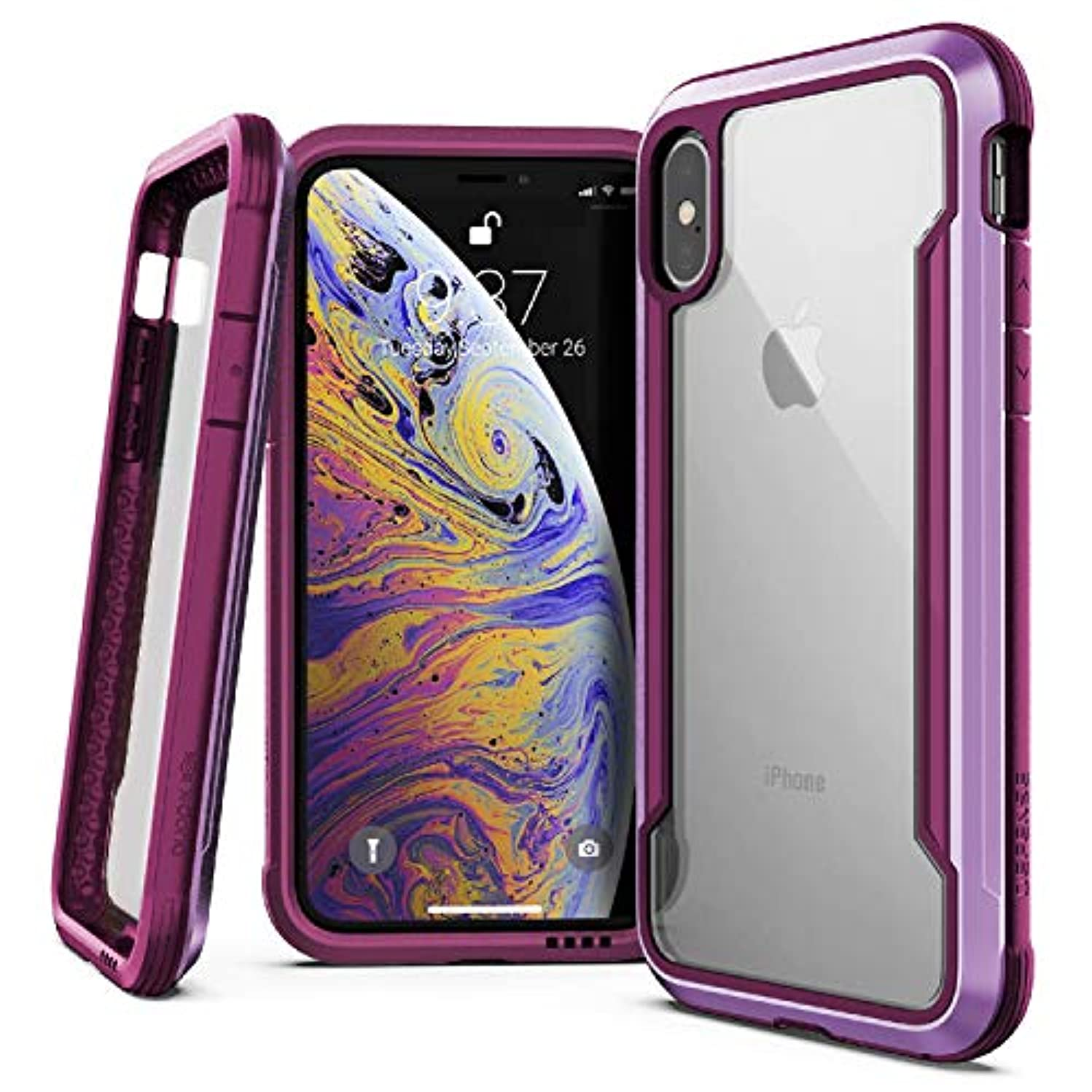 iPhone X, iPhone Xs Case, X-Doria Defense Shield Series - Military Grade Drop Tested, Anodized Aluminum, TPU, and Polycarbonate Protective Case for Apple iPhone X, iPhone Xs, iPhone 10 [Purple]