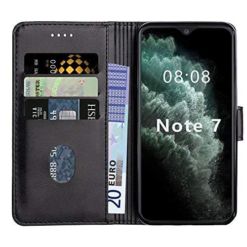 Baiyian Ledertasche Brieftasche Schutzhülle Flip Hülle für Cubot Note 7, Schwarz