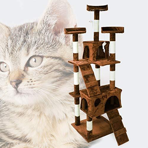 Albero tiragraffi per gatti marrone 170 cm con ripiani cuccette e scalini