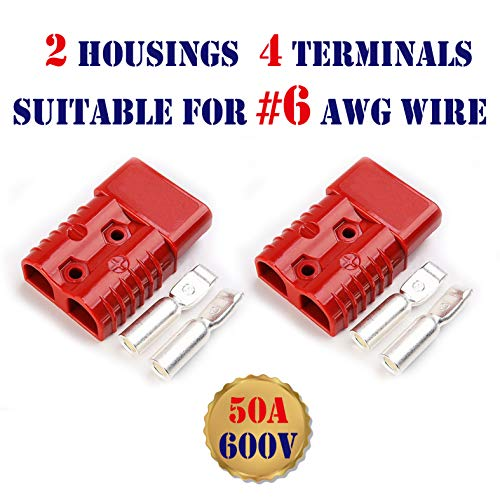 Mr.Brighton LED 1 Set 50Amp 2 Poles Power Connector Plug Red w/Terminals for #6 AWG Wire Anderson Compatible [2 housing+4 Terminal pins] -  #6Red50A