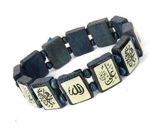 Lovely Lauri Unisex Holz Armband Damen Herren Motive Gummizug Arabische Schrift Dunkelblau
