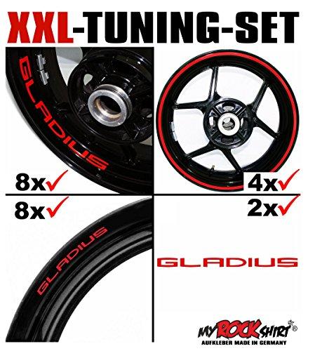 myrockshirt XXL-Tuning Set für Suzuki Gladius 1x Komplettsatz Felgenrandaufkleber/Rim Stripes/Felgenstreifen + 8 x Innerand-Felgen