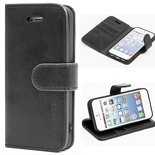 Mulbess Handyhülle für iPhone 5s Hülle Leder, iPhone 5s Handy Hüllen, Vintage Flip Handytasche Schutzhülle für iPhone SE 2016 / 5s / 5 Case, Schwarz