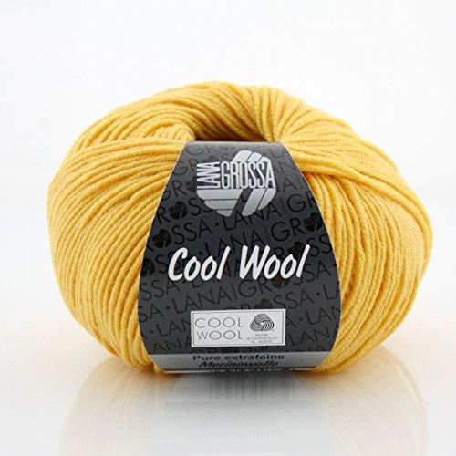 MyOma Lana Grossa Wolle * Cool Wool Sonnengelb (Fb 419) * 1 Knäuel gelbe Wolle zum Stricken - Merinowolle Stricken - Nadelstärke 3-3,5 mm Label GRATIS - 100% Merino – große Farbauswahl