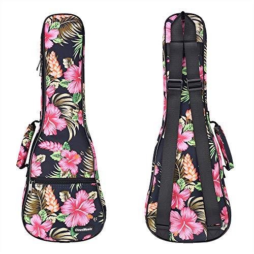 CLOUDMUSIC Hawaiian Ukulele Case Hawaii Hibiscus and Palm Ukulele Backpack (Concert, Hawaii Hibiscus and Palm)