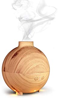 Kekilo Ultrasonic Air Purifier Cool Mist Humidifier as Best Giftset, 600ml Aromatherapy Essential Oil Diffuser with Warm Color for Office Bedroom Yoga Spa Living Room TT-20006A(Light Wood)