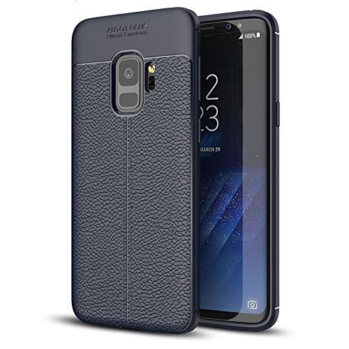 Funda Samsung Galaxy S9, Diseño de Textura de Cuero de la Cubierta, Slim Soft TPU Silicone Antigolpes Back Bumper Protective Case Cover para Samsung Galaxy S9 [Azul]