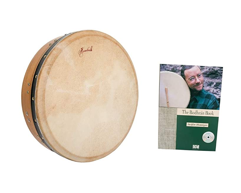 Roosebeck Bodhran Wood Frame Drum Package Includes: T-bar Mulberry Irish Tunable Drum, Green + Drum Book & CD by Steafan Hannigan