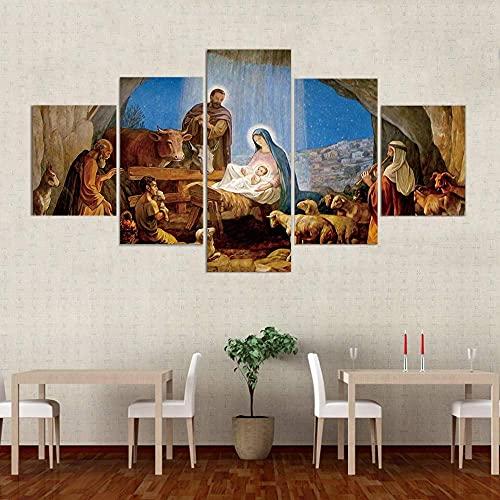 J-Clock Arte de Pared 5 Paneles Nacimiento Cristiano Jesús Pintura Lienzo Cuadros decoración del hogar para Sala de Estar póster de impresión HD