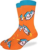 Good Luck Sock Men's Flying Pigs Crew Socks - Orange, Adult Shoe Size 7-12
