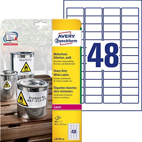 Avery White Heavy Duty Labels - Laser - L4778 - Etiquetas de Impresora (Color Blanco, Laser)