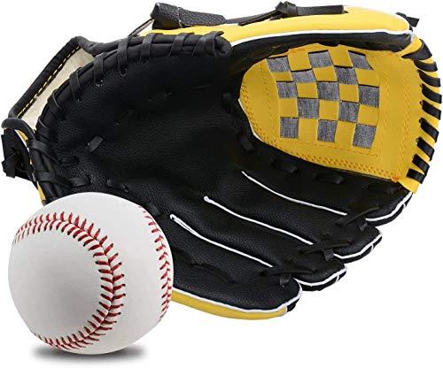 Wonninek 11,5 Pulgadas Guante de béisbol, Suave, sólido, de Cuero de PU, Engrosamiento, Lanzador, Guantes de softbol para niños, Adolescentes, Adultos, Guantes de béisbol Profesionales para atrapar