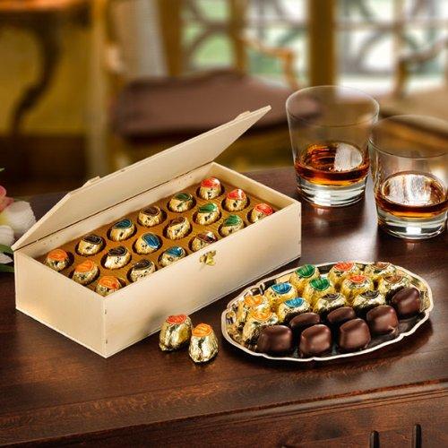 Likör-Pralinen (500g) Cognac, Whisky, Curacao und andere edle Spirituosen in Zuckerkruste mit Zartbitter-Schokolade.