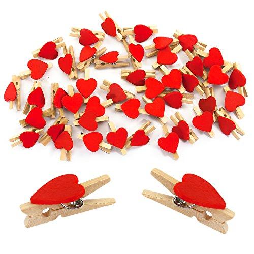 Oblique-Unique® Herz Mini Holz Wäscheklammern 50 Stück in Rot oder Weiss - Holzklammern Deko Klammern (Rot)