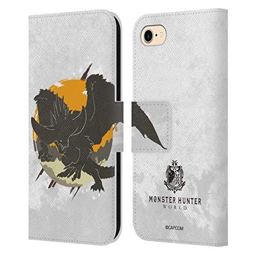 Head Case Designs Officiel Monster Hunter World Nergigante Silhouettes Coque en Cuir à Portefeuille Compatible avec Apple iPhone 7 / iPhone 8 / iPhone Se 2020