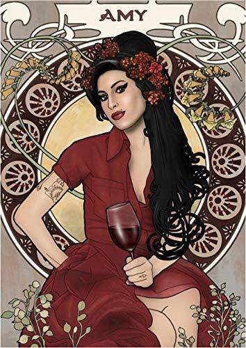 CAOHONG Arte del Cartel De La Lona Amy Winehouse Whitepaper Poster Alternativa Pintura De Arte Abstracto Etiqueta De La Pared Divertida para Coffee House Bar 50 * 70 Cm Duradero