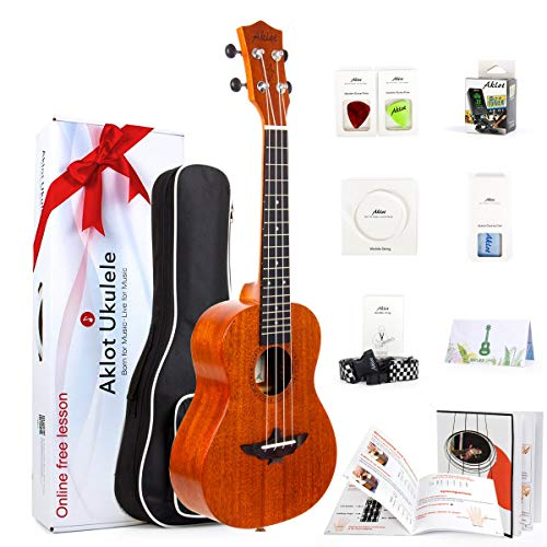 AKLOT Concert Ukulele Solid Mahogany 23 Inch Uke with Free Tutorial and Beginner Kit ( Gig Bag, Picks, Tuner, Strap, String, Cleaning Cloth, Starter...