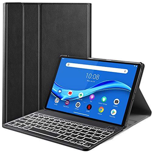 IVSO Beleuchtete Tastatur Hülle für Lenovo Tab M10 FHD Plus 10.3, [QWERTZ Deutsches], Schutzhülle mit abnehmbar Bluetooth Tastatur für Lenovo Tab M10 FHD Plus (2nd Gen) 10.3 TB-X606F, Schwarz