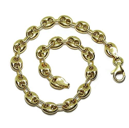 Pulsera de calabrotes pequeños toda de oro amarillo de 18k calabrotes de 7x5mm y 18.50cm de largo. Pensada para mujer. Cierre mosquetón para total seguridad. Peso; 7.15 gr de oro de 18k