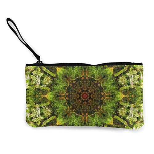 Wrution Kaleidoskop Digital Art Muster Grün Licht Canvas Münzbörse Tasche Reißverschluss Kleine Brieftasche weiblich tragbar große Kapazität