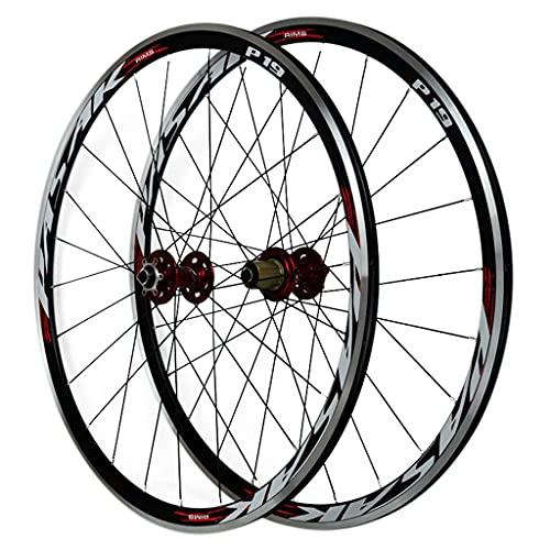 LICHUXIN Rueda de Bicicleta 700C Juego de Ruedas de Bicicleta de Carretera Liberación Rápida Llanta de Aleación de Doble Pared 30MM Freno Disco 7 8 9 10 11 Velocidades (Color : Red, Size : 700C)