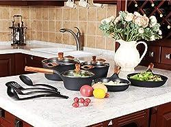 Best Designer Kitchen Academy 11 Piece Nonstick Granite Coating Cookware Set