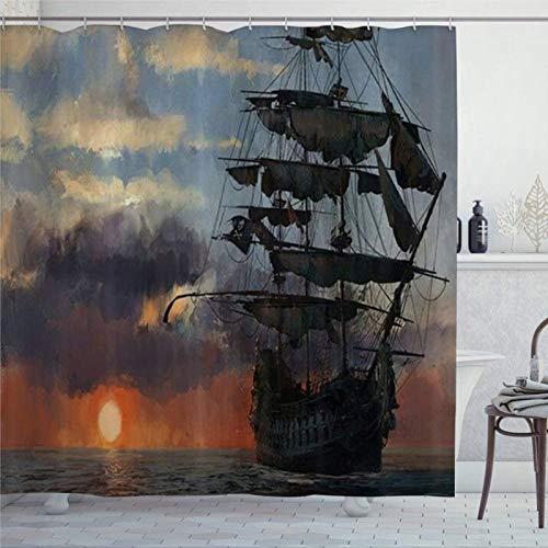 EricauBird Duschvorhang Ozean Old Pirate Ship im Meer Historic Legend Cruise Duschvorhang mit Ringen Polyestergewebe Duschvorhänge mit Haken Bad Badezimmer Dekor