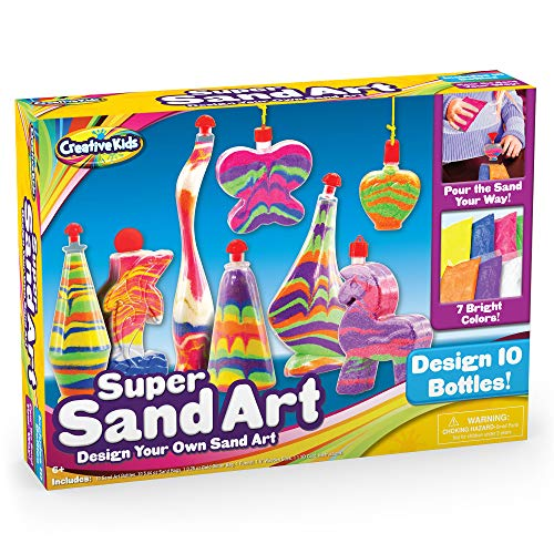 Creative Kids DIY Super Sand Art and Crafts Activity Kit for Kids – Create Your Own Crafts – 10 x Sand Art Bottles, 10 x Vibrant Colored Sand Bags & 1 x Glitter Bag – STEM Playset - Craft Gift for Boys & Girls 6 +