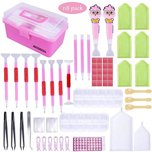 Generisch 5D Diamant Mal Kit, 118tlg DIY Diamond Painting Werkzeug Set mit 12 Fächer Diamant Sortierbox und Pink Aufbewahrungsbox für Erwachsene/Kinder Kunst Handwerk