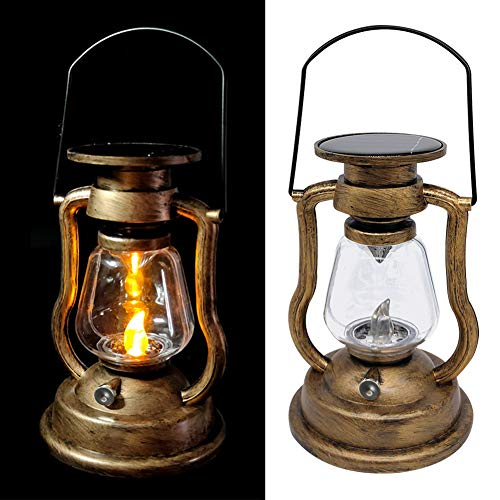 BEYST Solar Hanging Candle Light,Retro Antique LED Oil Lamp Hurricane Miners Lantern for Garden Tree Table Reading Camping(Warm White Light)