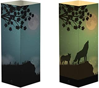 yodaliy Wolf Shadow Birthday Gift Paper Night Light Beside Table Lamp, Touch Switch Decoration Lamps Birthday's Day Gift with Cardboard Shade & ABS Base & USB Cable