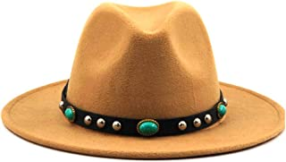 Hats and Caps Fedora Hat for Men Women Turquoise Leather with Wide Brim Wool Outback Casual Hat Panama Hat Top Jazz Hat (Color : Khaki, Size : 56-58CM)
