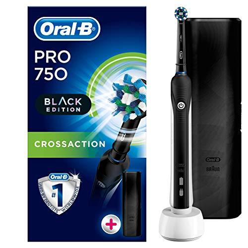Oral-B Pro 750 CrossAction Spazzolino Elettrico Ricaricabile con 1 Manico Nero, 1 Testina, Custodia da Viaggio in Plastica Nera