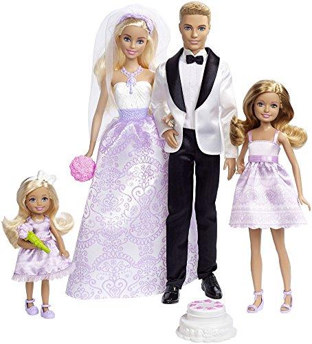 Barbie DJR88 - Traumhochzeit Puppen Geschenkset, mit Ken, Chelsea, Stacie und Zubehör, Puppen Spielzeug und Puppenzubehör ab 3 Jahren