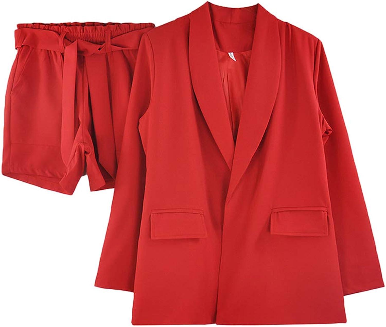 TAOVK Work Wear Short Pants Suit Women Summer Spring LongSleeved Blazer with Shorts OL Office Ladies Formal Suits