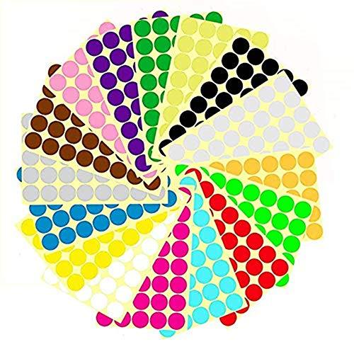 Pegatinas Redondas Colores,16 Hojas Etiquetas Adhesivas Redondas,25mm 16 Colores Pegatinas Color Círculo Etiquetas...