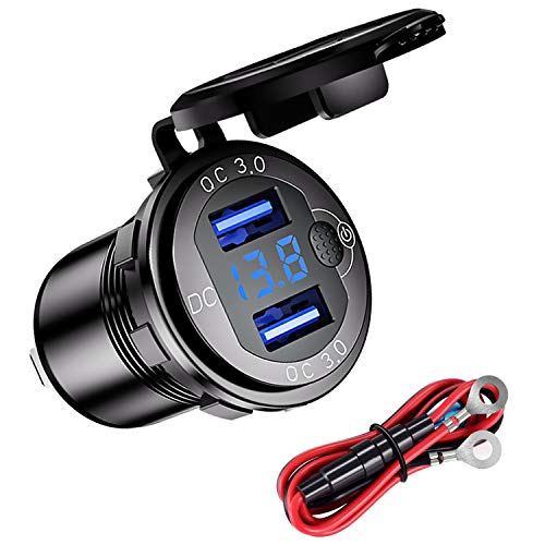YGL Chargeur USB QC3.0 Voiture de Moto étanche,12/24V Prise de Chargeur Double USB en Alliage D'aluminium, avec Interrupteur et LED Voltmètre pour Voitures,Bateaux,VTT,Bus(Noir)