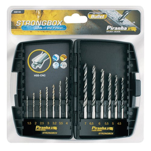 Piranha Strongbox Bohrer-Bit-Set, Rundspitze, Metall, 13-teilig