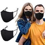 Stoffmaske, Mundschutz Maske Wiederverwendbar, Mund Nasen Schutz Behelfsmasken, Schwarz Baumwolle...